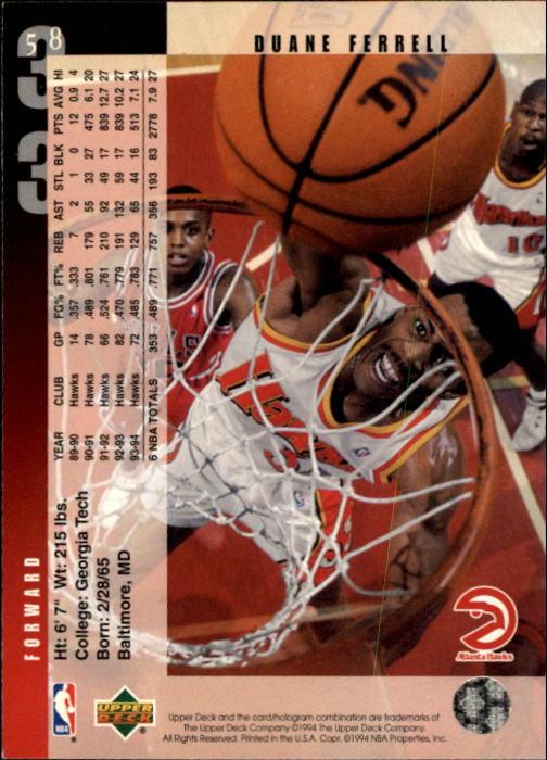 1994-95 Upper Deck #58 Duane Ferrell back image