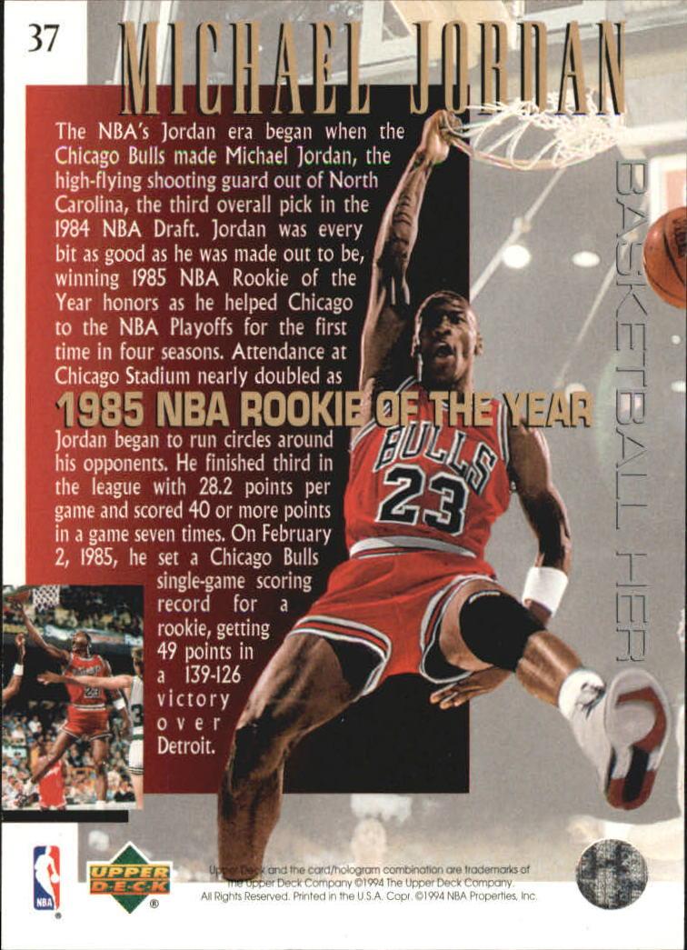 1994 95 Upper Deck Jordan Heroes 37 Michael Jordan1985 Nba