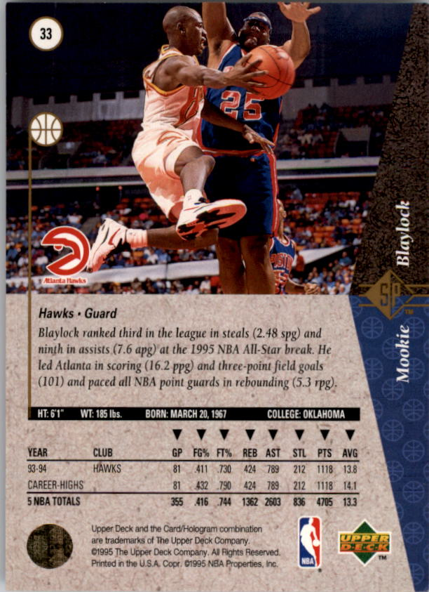 1994-95 SP #33 Mookie Blaylock back image