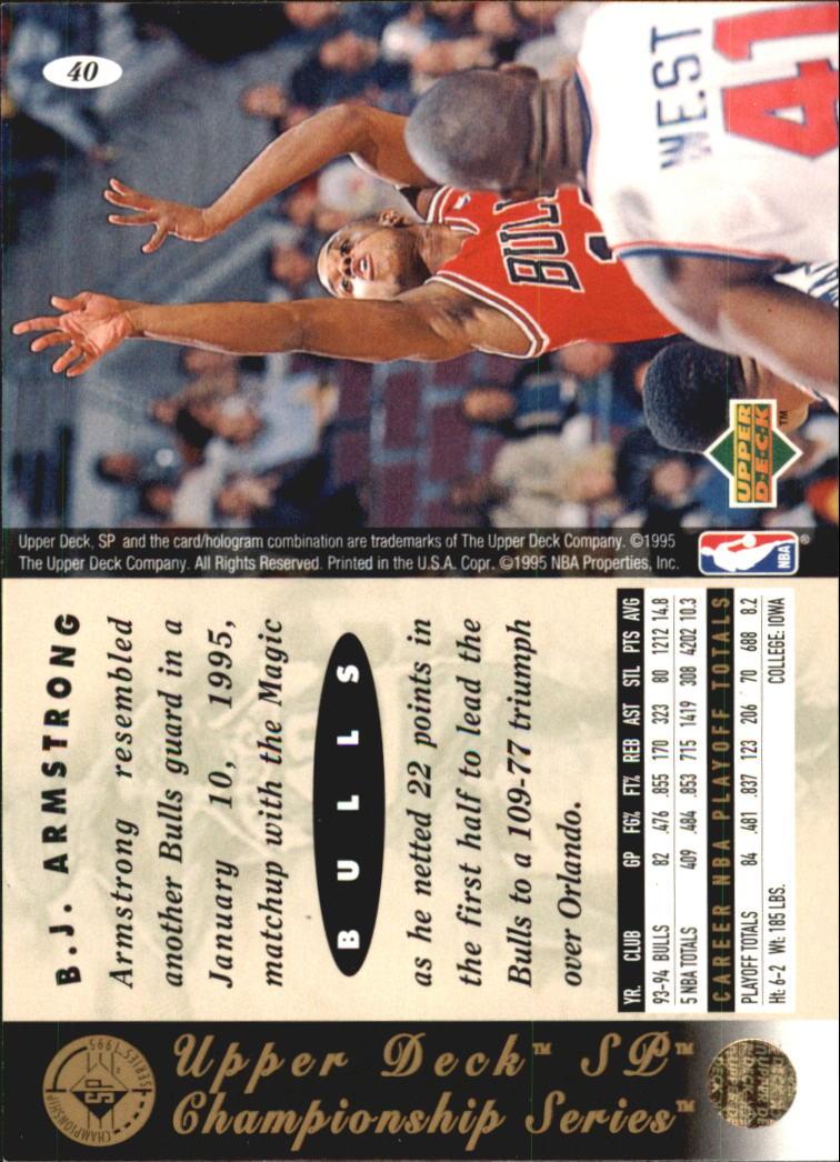 1994-95 SP Championship #40 B.J. Armstrong back image