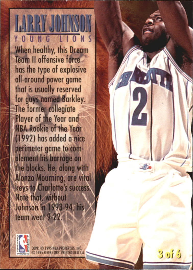 1994-95 Fleer Young Lions #3 Larry Johnson back image