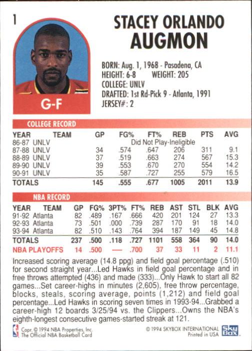 1994-95 Hoops #1 Stacey Augmon back image