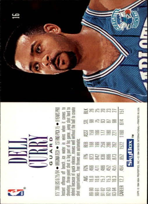 1994-95 SkyBox Premium #16 Dell Curry back image
