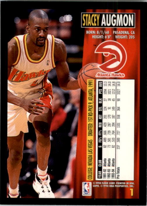 1994-95 Fleer #1 Stacey Augmon back image