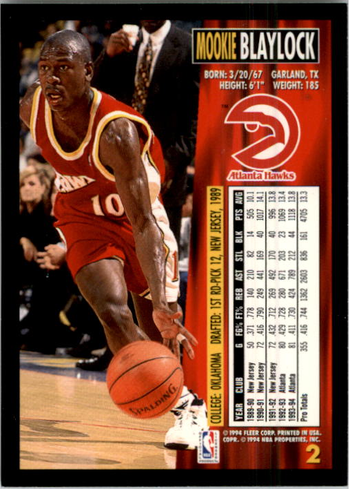 1994-95 Fleer #2 Mookie Blaylock back image