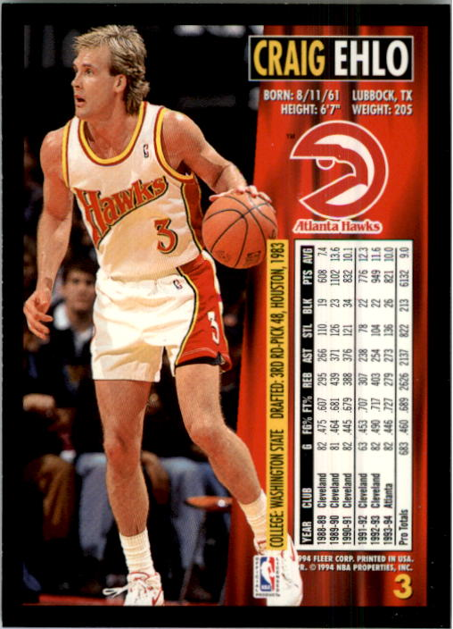 1994-95 Fleer #3 Craig Ehlo back image