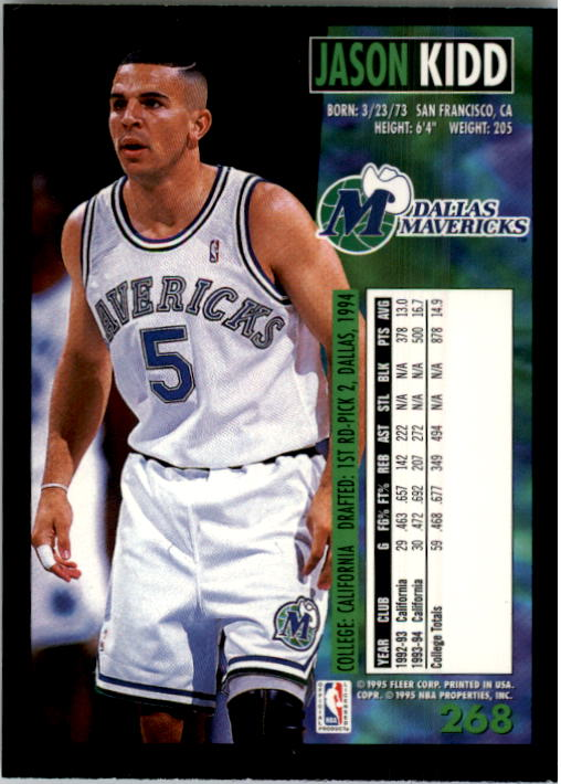 1994-95 Fleer #268 Jason Kidd RC back image