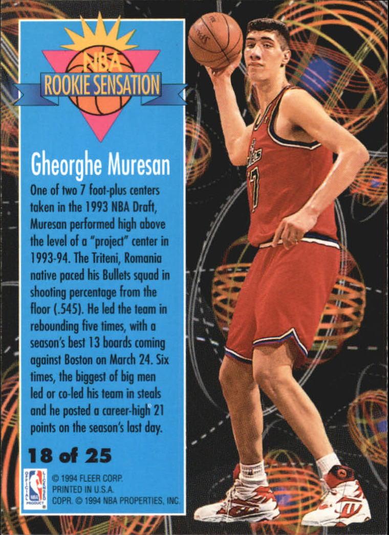 1994-95 Fleer Rookie Sensations #18 Gheorghe Muresan back image