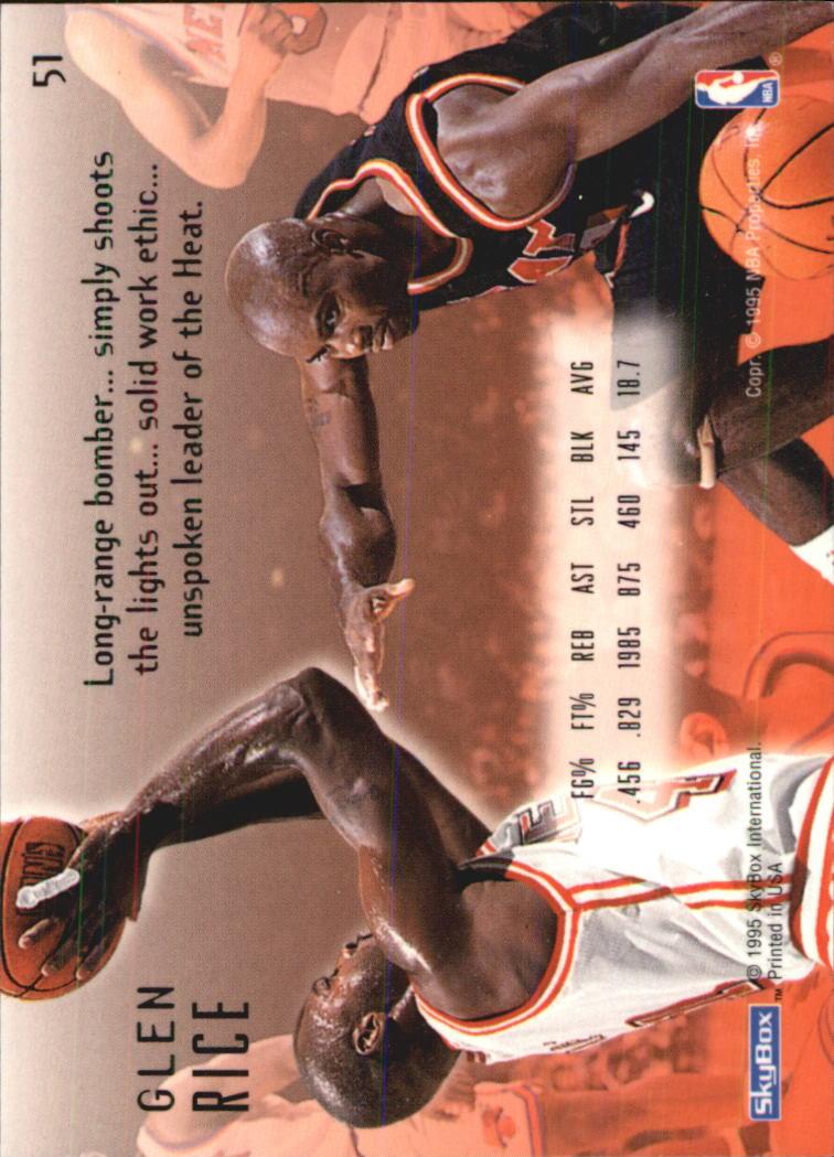 1994-95 Emotion #51 Glen Rice back image