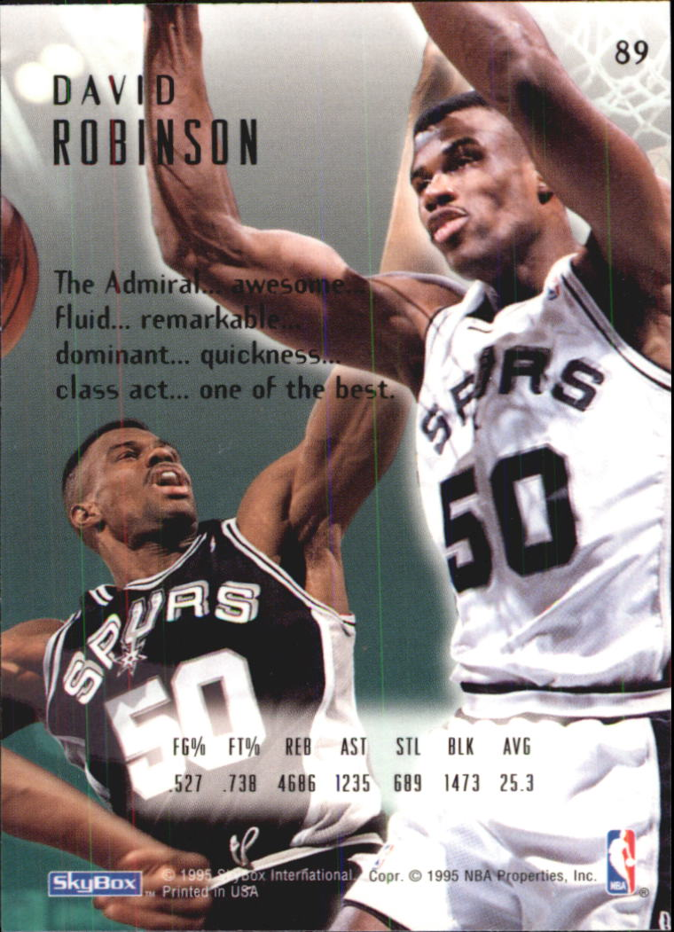 1994-95 Emotion #89 David Robinson back image