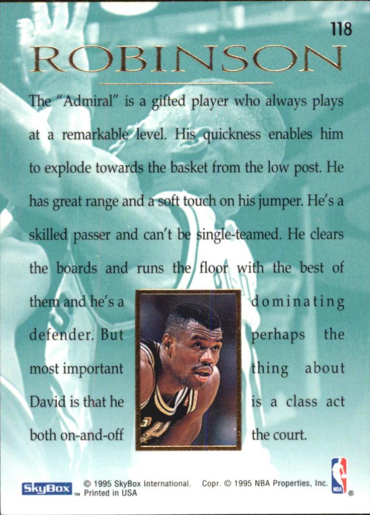 1994-95 Emotion #118 David Robinson MAS back image