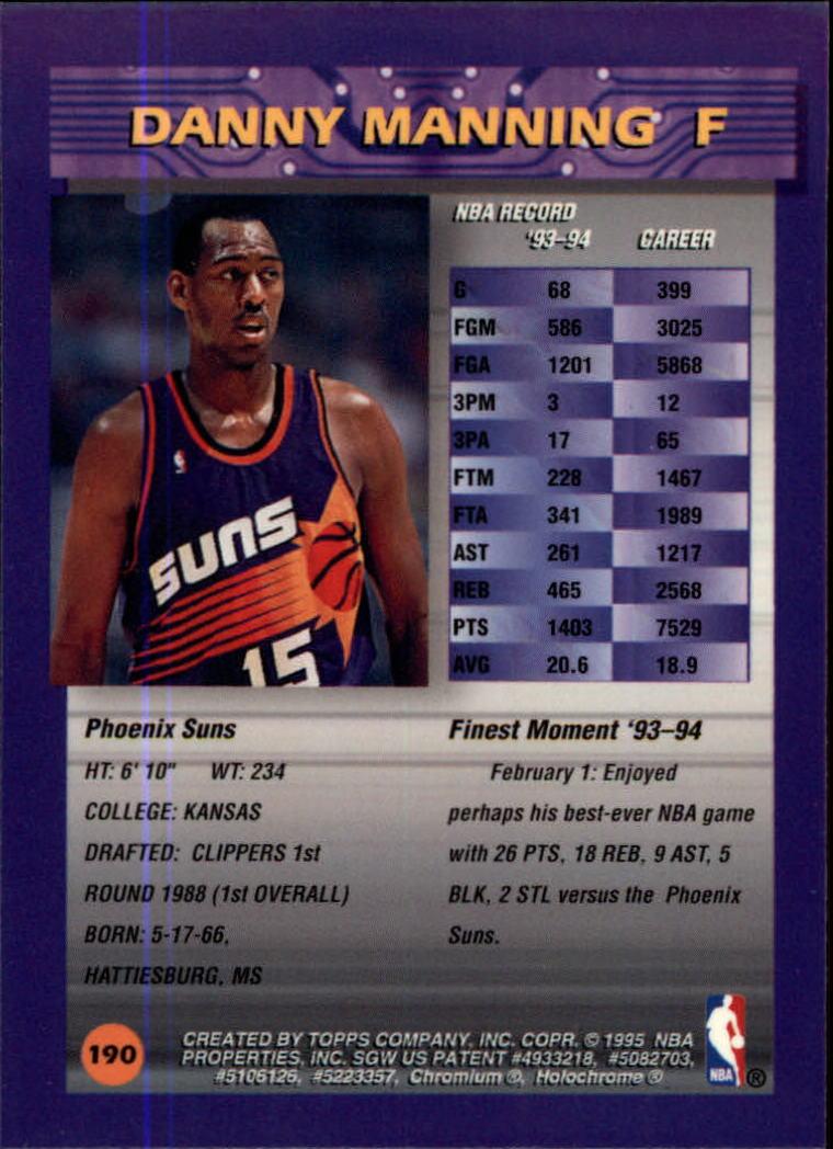1994-95 Finest #190 Danny Manning back image