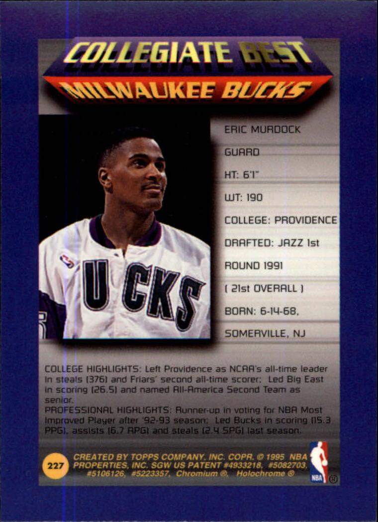 1994-95 Finest #227 Eric Murdock CB back image