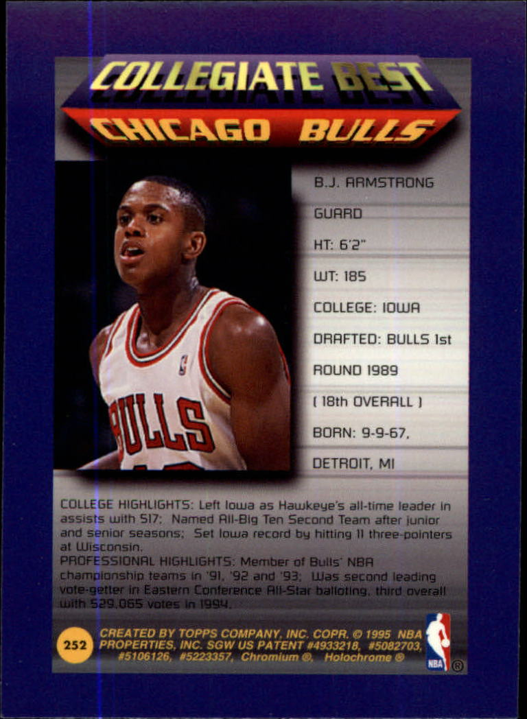 1994-95 Finest #252 B.J. Armstrong CB back image