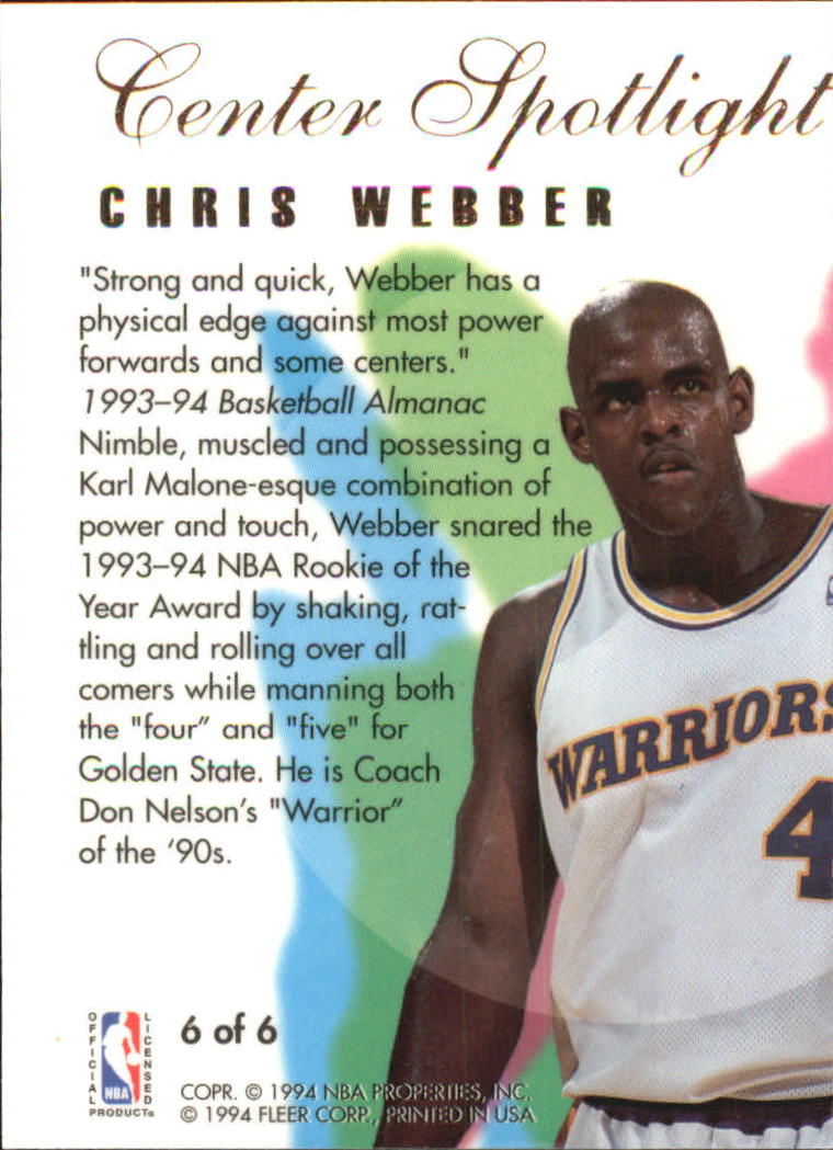 1994-95 Flair Center Spotlight #6 Chris Webber back image
