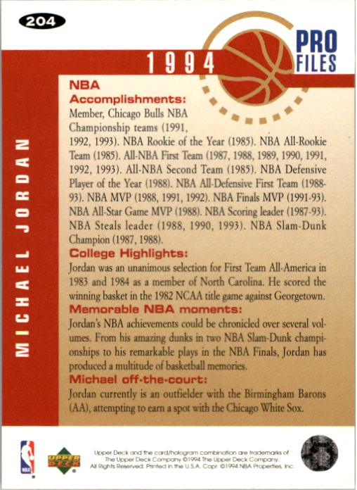 1994-95 Collector's Choice #204 Michael Jordan PRO back image