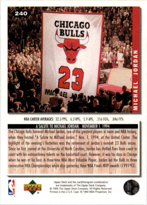 1994-95 Collector's Choice #240 Michael Jordan COMM back image