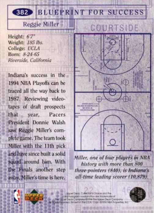 1994-95 Collector's Choice #382 Reggie Miller BP - NM-MT