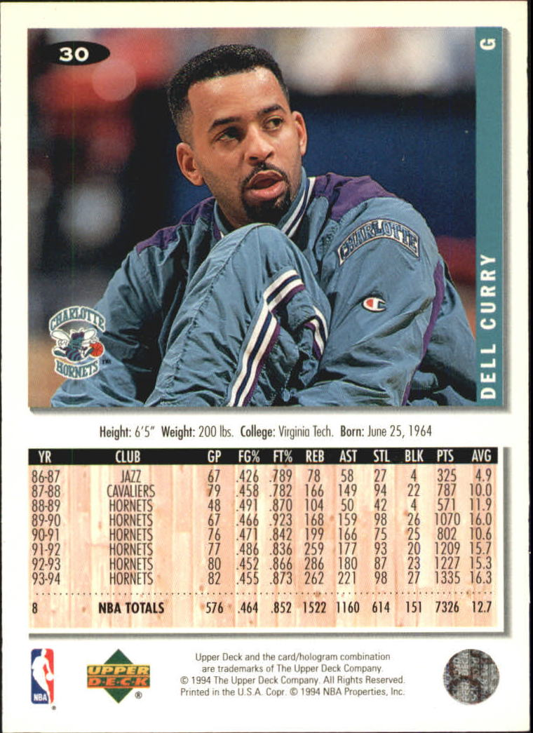 1994-95 Collector's Choice Silver Signature #30 Dell Curry back image
