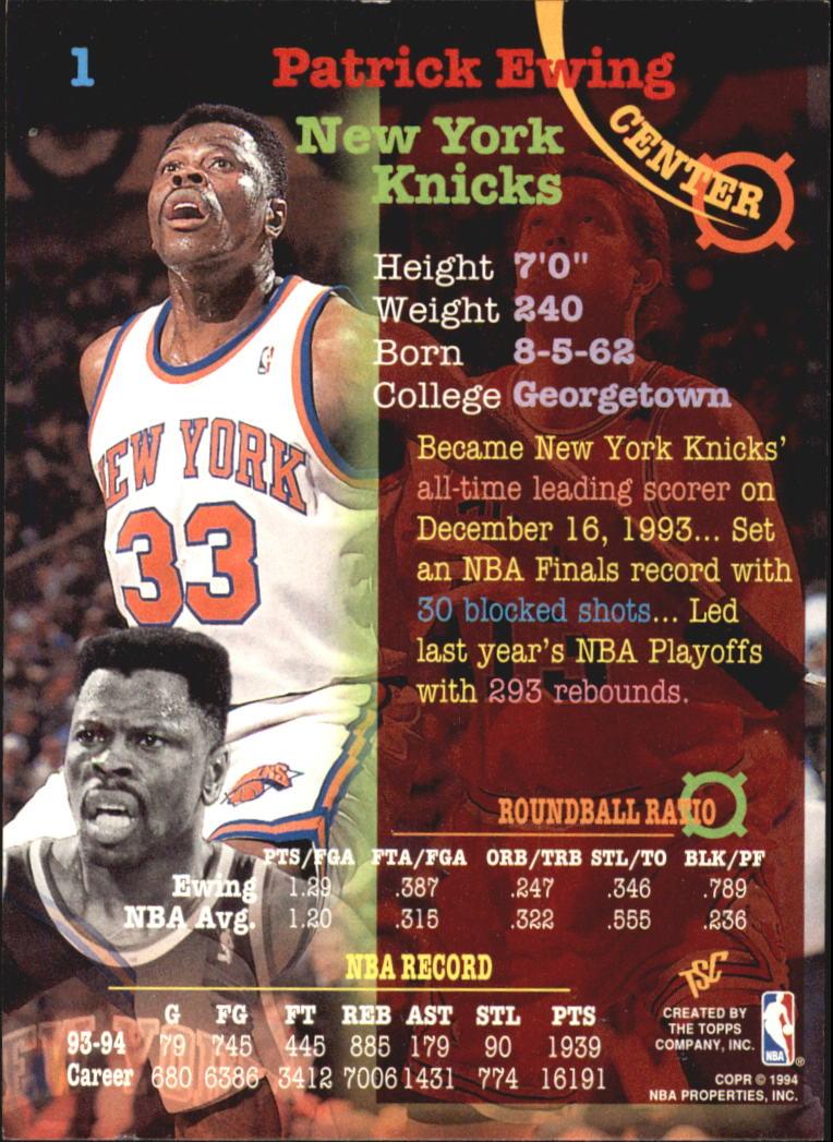 1994-95 Stadium Club Super Teams NBA Finals #1 Patrick Ewing back image