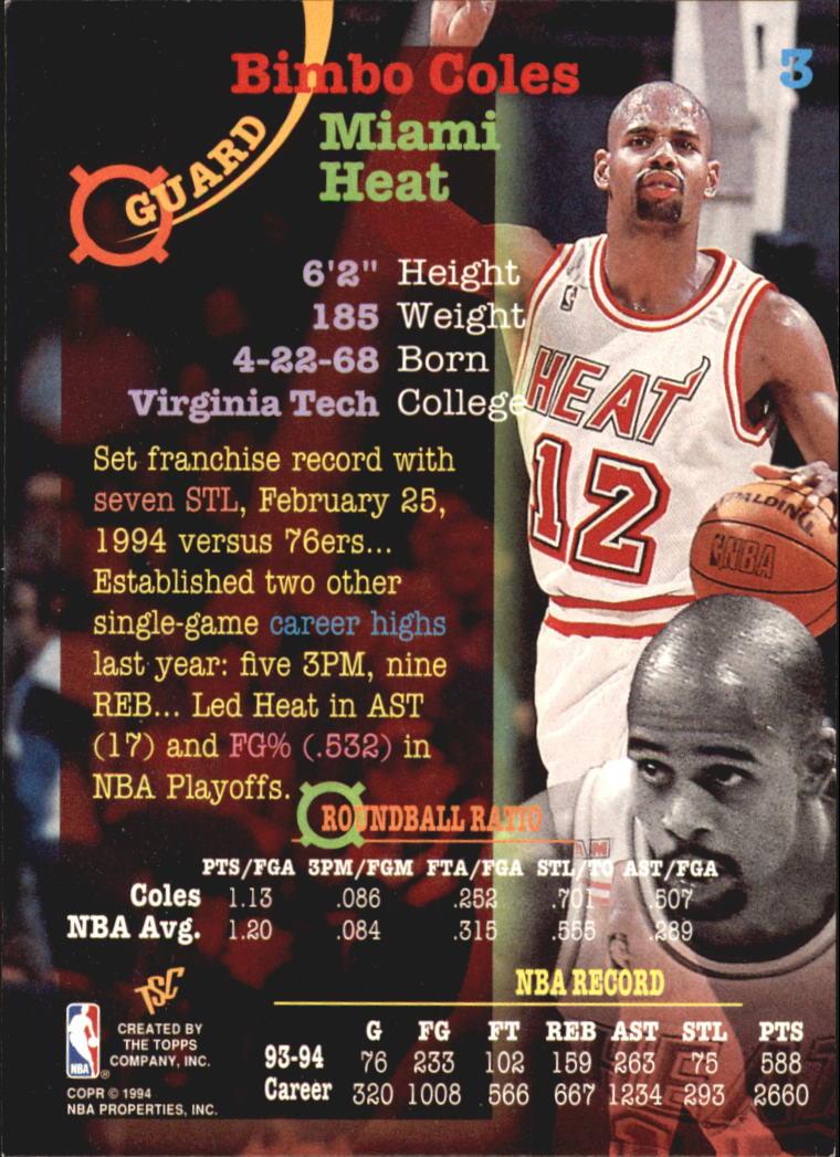 1994-95 Stadium Club Super Teams NBA Finals #3 Bimbo Coles back image