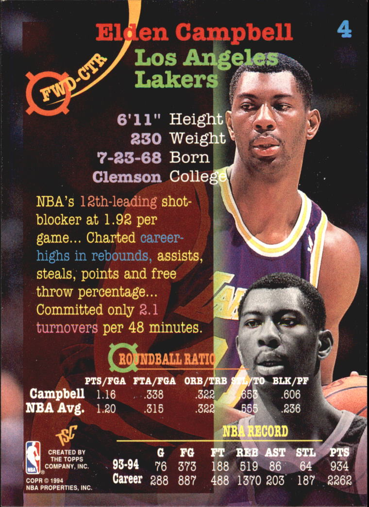1994-95 Stadium Club Super Teams NBA Finals #4 Elden Campbell back image