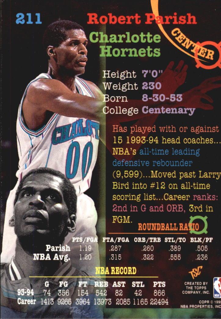 1994-95 Stadium Club Super Teams NBA Finals #211 Robert Parish back image