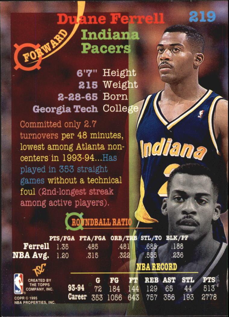 1994-95 Stadium Club Super Teams NBA Finals #219 Duane Ferrell back image