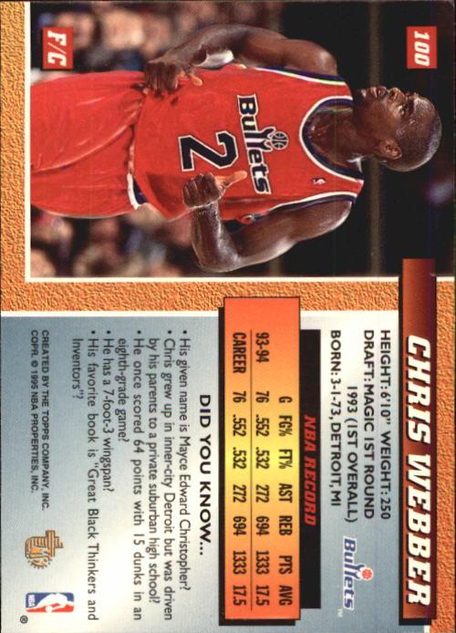 1994-95 Embossed #100 Chris Webber back image
