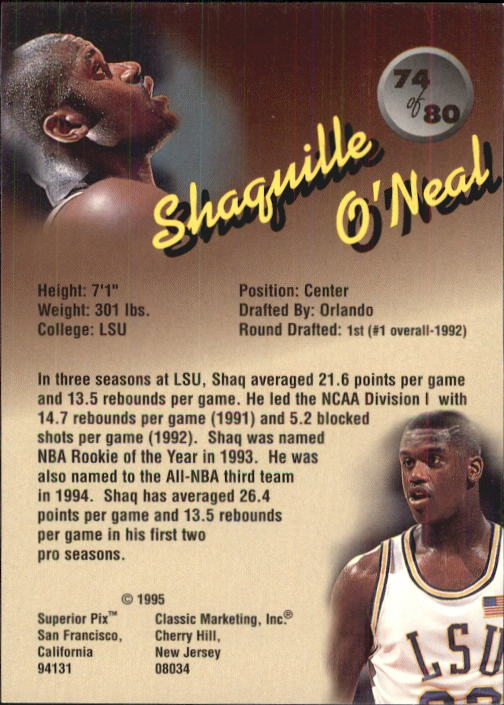 1995 Superior Pix #74 Shaquille O'Neal back image
