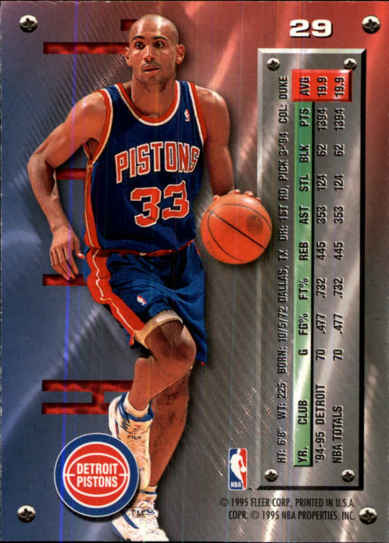 1995-96 Metal #29 Grant Hill back image