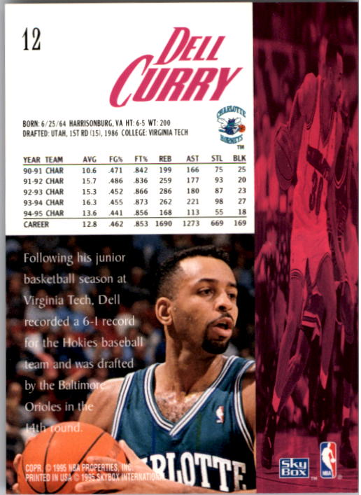 1995-96 SkyBox Premium #12 Dell Curry back image