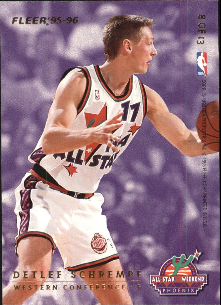 1995-96 Fleer All-Stars #8 Larry Johnson/Detlef Schrempf back image
