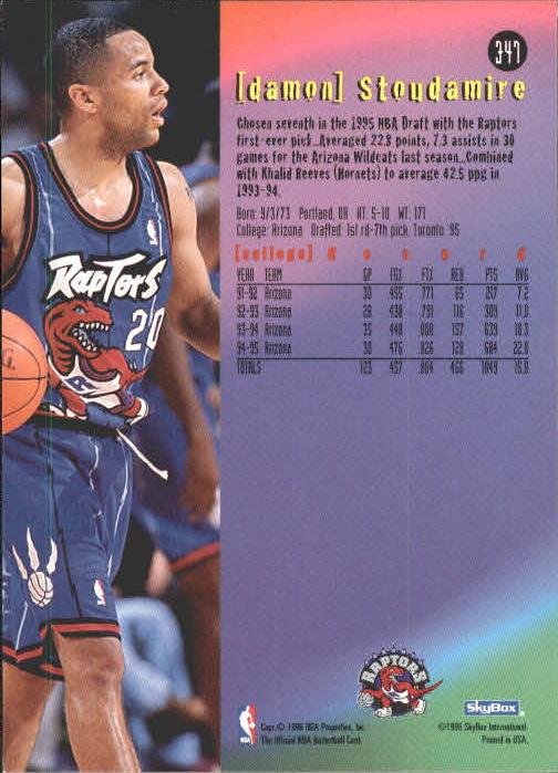 edb43254d2a 1995-96 Hoops Toronto Raptors Basketball Card #347 Damon Stoudamire ET.  Front. Back