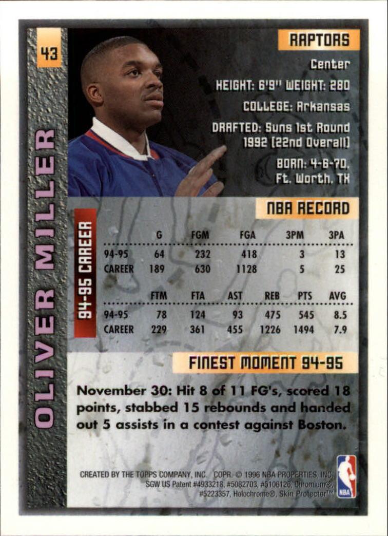1995-96 Finest #43 Oliver Miller back image