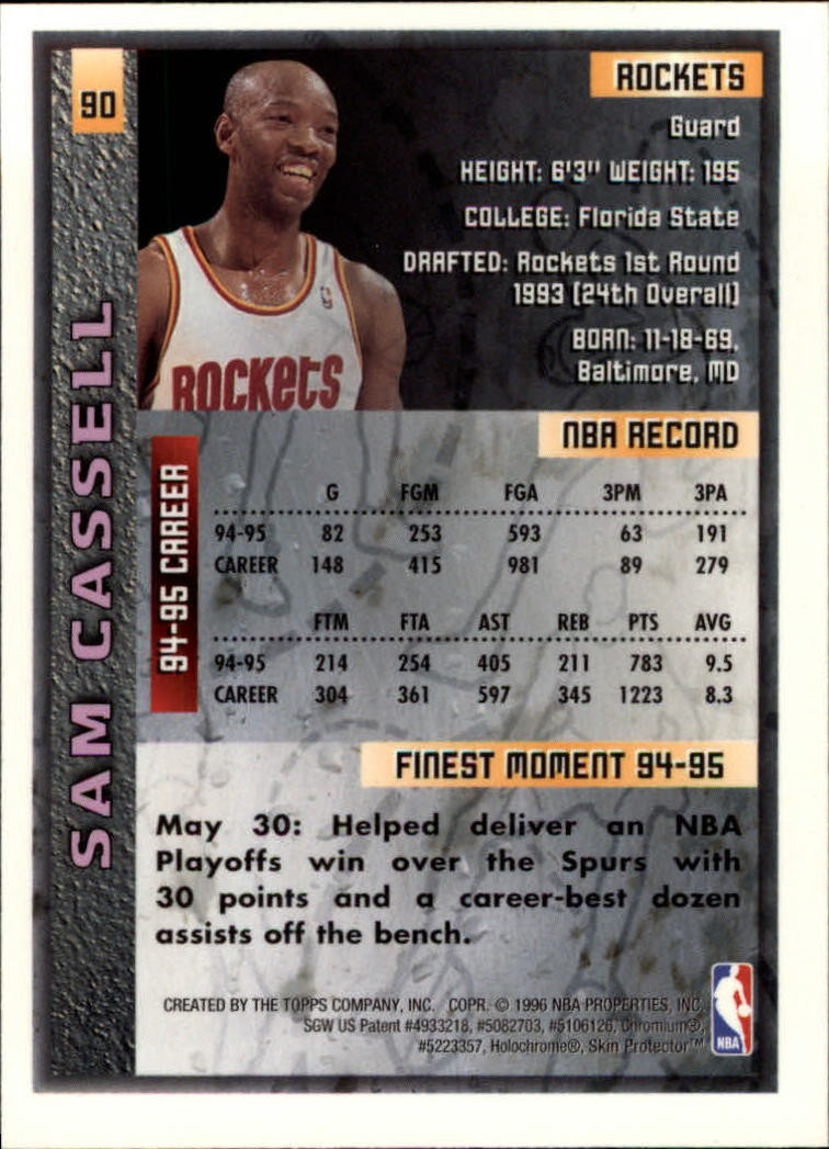 1995-96 Finest #90 Sam Cassell back image