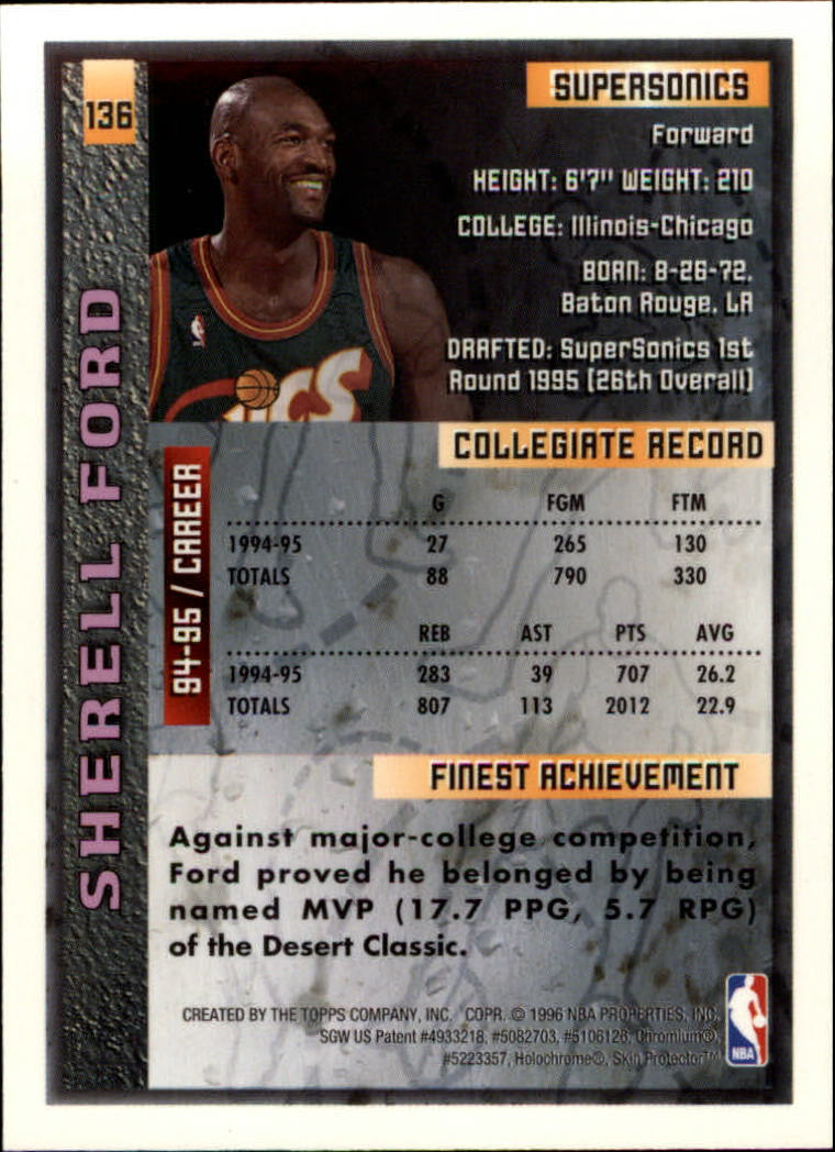 1995-96 Finest #136 Sherrell Ford RC back image