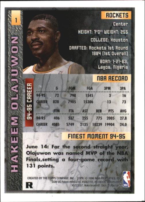 1995-96 Finest Refractors #1 Hakeem Olajuwon back image