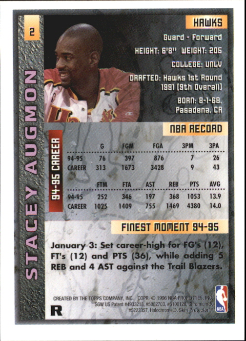 1995-96 Finest Refractors #2 Stacey Augmon back image