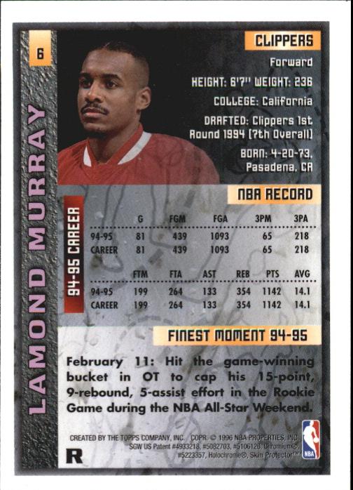 1995-96 Finest Refractors #6 Lamond Murray back image