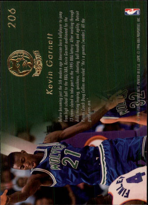 1995-96 Flair #206 Kevin Garnett RC back image