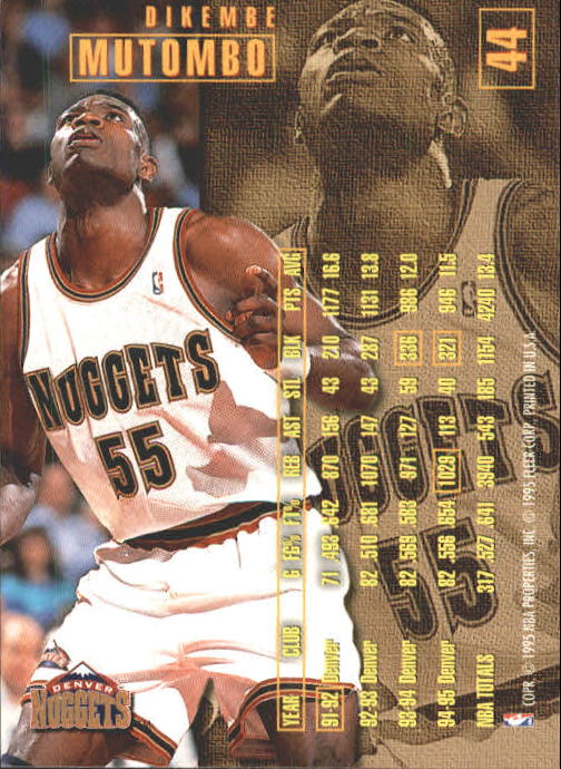 1995-96 Fleer #44 Dikembe Mutombo back image