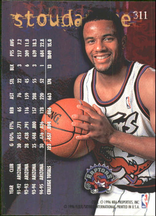 1995-96 Fleer #311 Damon Stoudamire RC back image