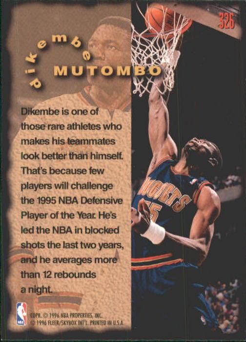 1995-96 Fleer #326 Dikembe Mutombo FF back image