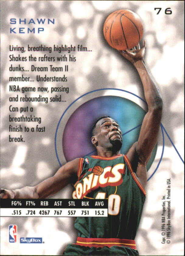 1995-96 E-XL #76 Shawn Kemp back image