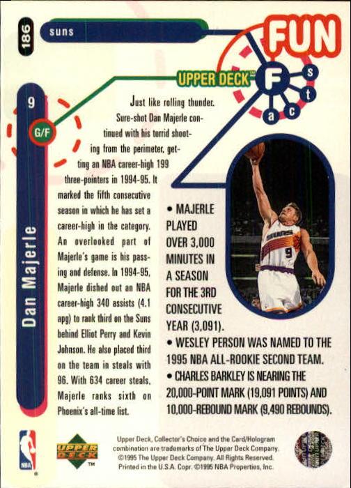 1995-96 Collector's Choice #186 Dan Majerle FF back image