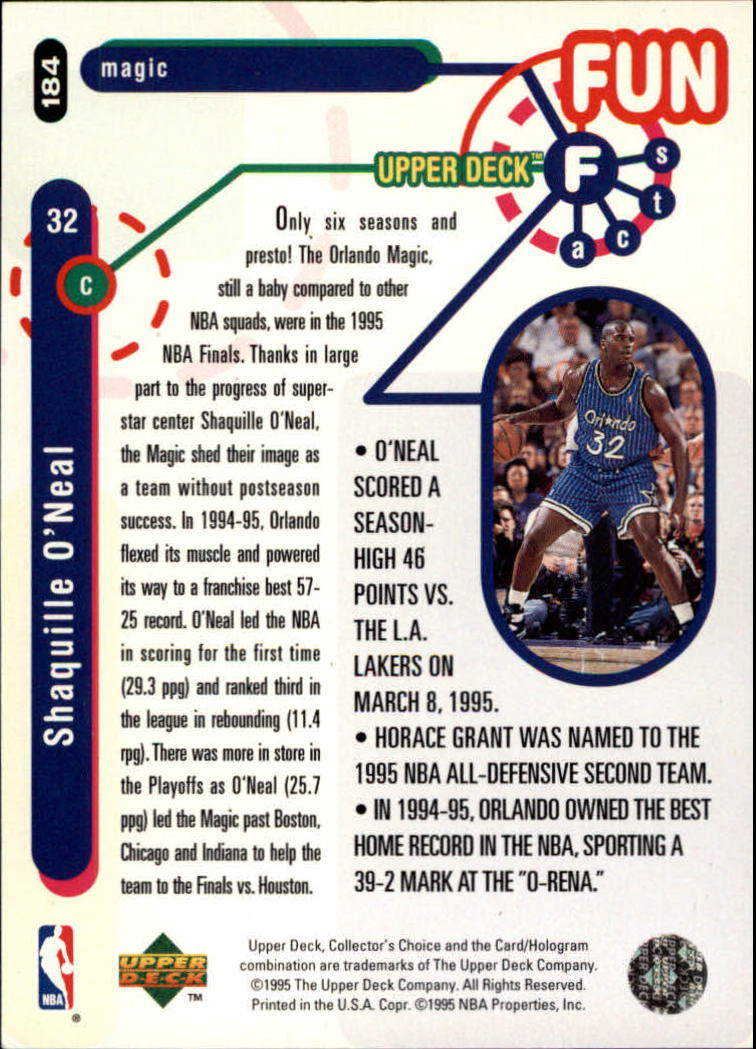 1995-96 Collector's Choice Player's Club #184 Shaquille O'Neal FF back image