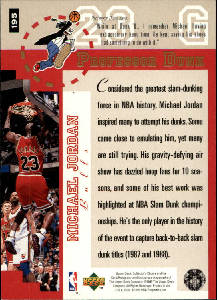 1995-96 Collector's Choice Player's Club #195 Michael Jordan PD back image