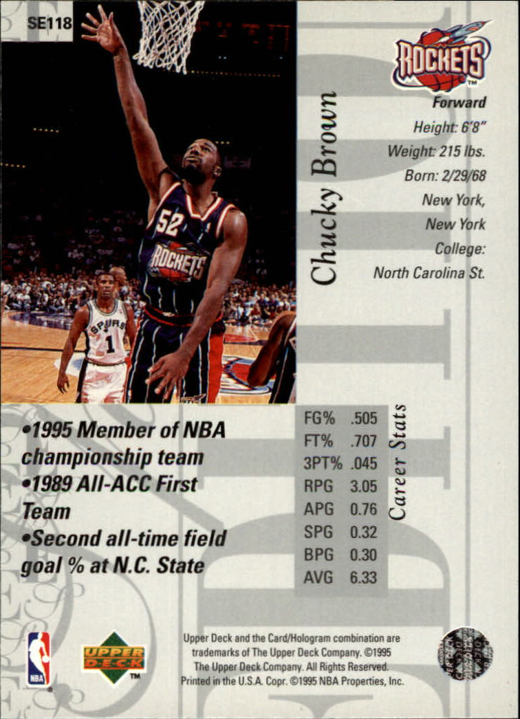 1995-96 Upper Deck Special Edition #118 Chucky Brown back image