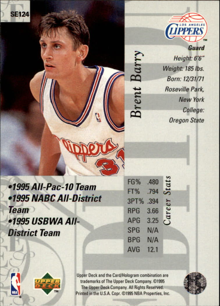 1995-96 Upper Deck Special Edition #124 Brent Barry back image